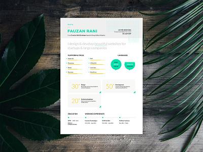 Resume Fauzanrani 2018 Fullpage print design resume design resume modern resume cv form clean resume a4 design