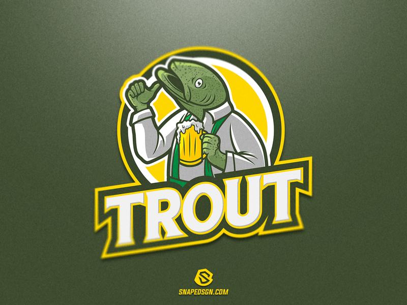 Trout twitch esport gaming illustration design branding sport identity logo mascot