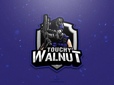 Touchy Walnut illustration design logotype sport esport gaming identity logo mascot