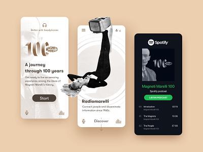 Magneti Marelli 100 branding ui typography sketch experience spotify magnetimarelli 100 radio voice music heritage vintage design mobile podcast uiux