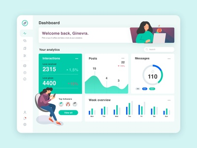 Dashboard App Social vector minimal illustration flatdesign social website web typogaphy sketch interface design flat branding art ux ui app dashboad
