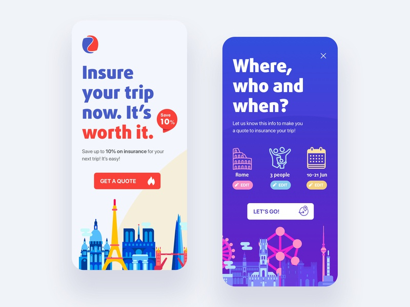 Trip Insurance App uxdesign uidesign uxui insurance website web ux ui typography sketch ios interface flat concept branding art app
