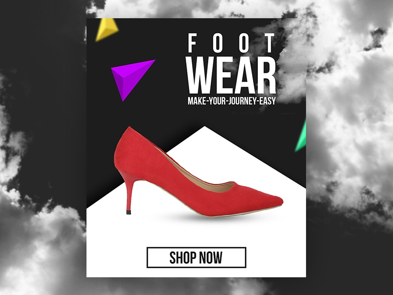 Foot Wear Banner Design web typography photoshop fashion design abstract