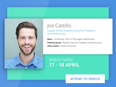 Speaker Profile card forum speech web meeting conference person profile speaker