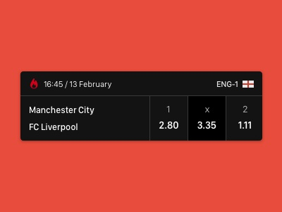 Sport betting UI football flat teams coefficients sports soccer android ios mobile ui betting bet