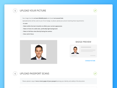 Web application form application registration preview avatar badge picture upload form web