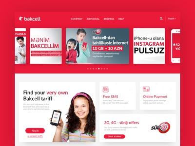 Mobile provider web site red desktop header menu tariff phone provider web slider
