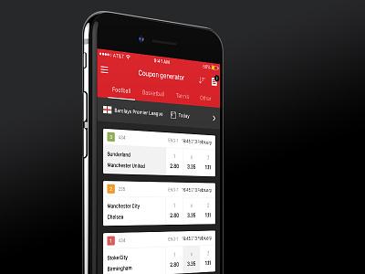 Sports betting app close-up team sport soccer red iphone ios dark card betting bet app