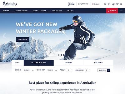 Ski winter website menu header package form hotel booking book sport resort winter skiing ski