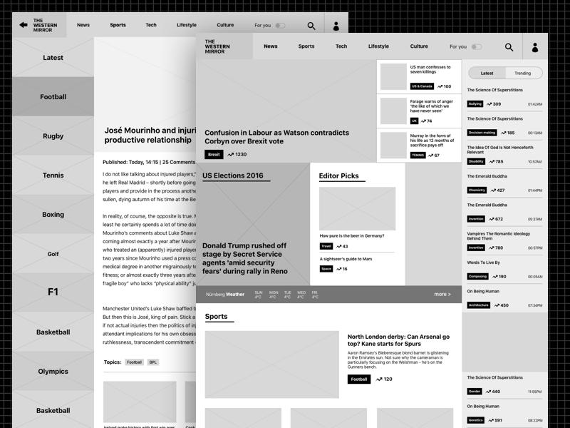 Newspaper website wireframe magazine web ui ux categories news wireframe newspaper