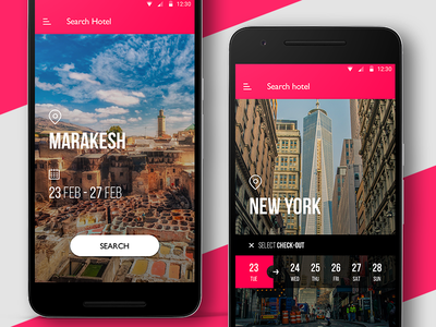 Hotel Booking app select check-in android city search reservation booking hotel