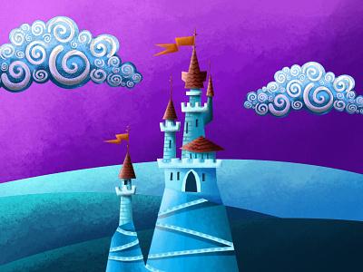 Ice Castle cloud artist illustration digital painting