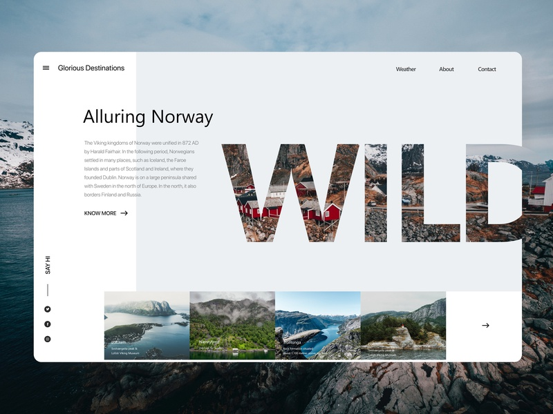 Alluring Norway ux typography redesign concept redesign concept ui app adventure website concept vector ui minimal design concept design branding uxui user interface design userinterface uidesign prototype interaction design