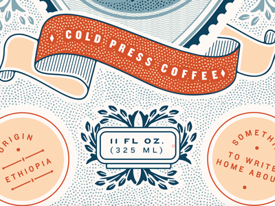 Courier Brew Process Detail engraving cold brew packaging logo illustration