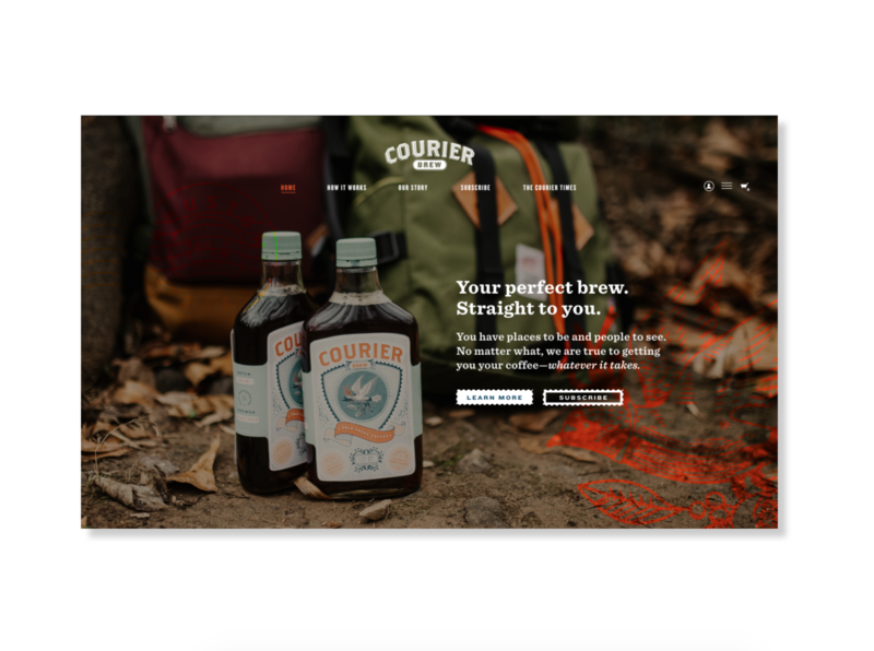 Courier Brew Landing Page artdirection photography packaging branding illustration outdoors webdesign landingpage