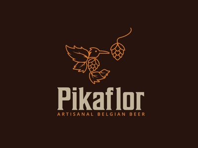 Pikaflor Artisanal Belgian Beer line hummingbird bird logo beer