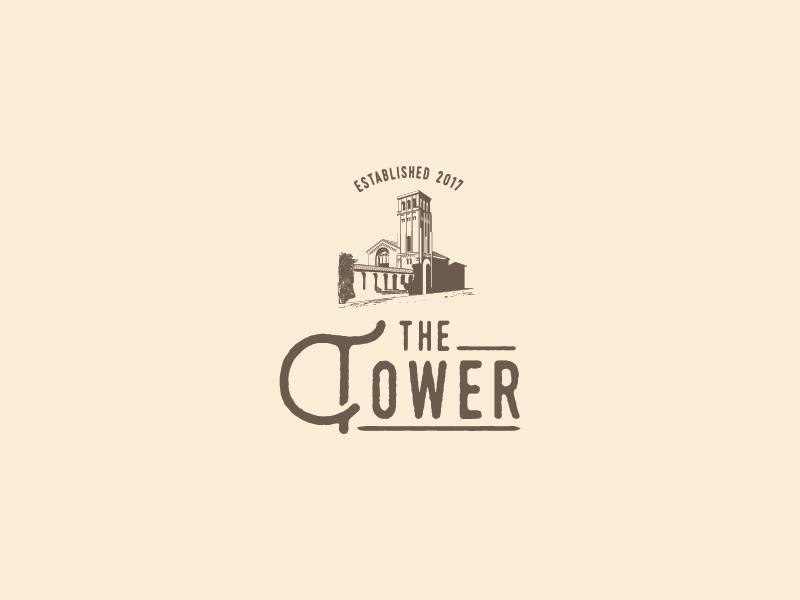 The Tower retro vintage architecture tower logo design restaurant illustration