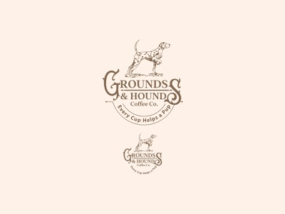 Grounds & Hounds animal vintage branding illustration dog coffee bean coffee design logo