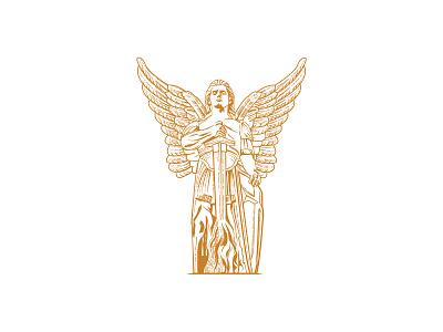 st michael archangel wing angel logo illustration vector vintage archangel st michael archangel