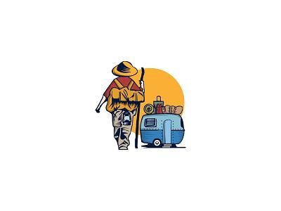 Camping branding logo design child rv travel camping