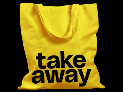 Take Away yellow typedesign experimental typography experimental design visual communication typeface design type experimental tote bag milos mitrovic typography black type only type big type gradient gradient type typeface poly sans typeface poly sans filippos fragkogiannis