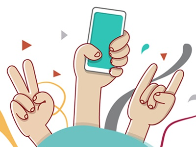 Hands illustrattion hands party phone vfs