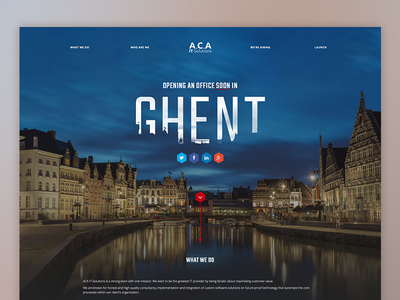 Landing page :: New office in Ghent landing page website web site design mockup ghent gent social about launch