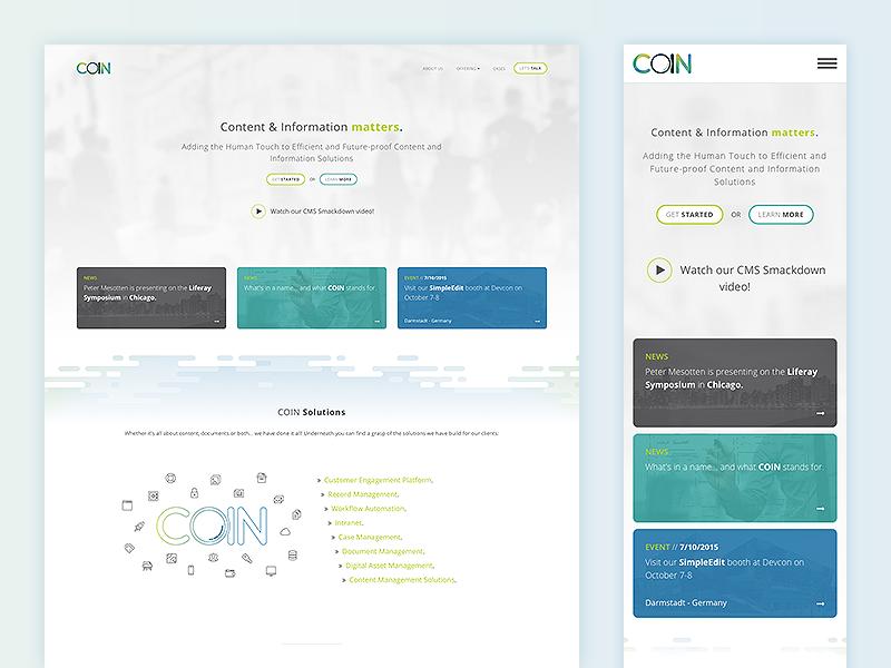 COIN website live landing mockup design responsive web coin website