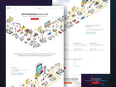 Factory visit landing page agile landing page web typography site icon font flat design factory aca landing