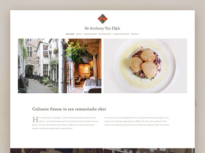 Sir Anthony Van Dijck Restaurant website landing page squarespace website web typography site font flat design restaurant aca landing