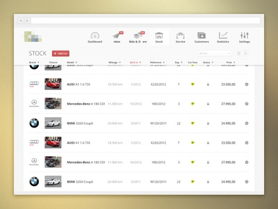 Car stock web app car cars web icons icon app website stock ui design web app dashboard list bmw mercedes audi