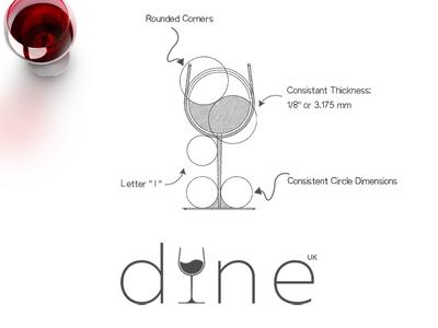 Dine UK Logo Process wine glass dine uk restaurant logo
