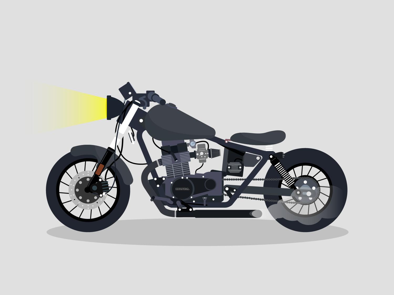 1986 Honda Rebel By David Kozub Dribbble White Bobber Cafe Racer 03 Dribble