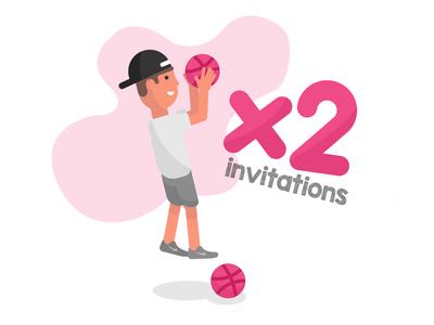 Dribbble Invites dribble invitations icon flat animation type design brand vector minimal art vector art branding illustration