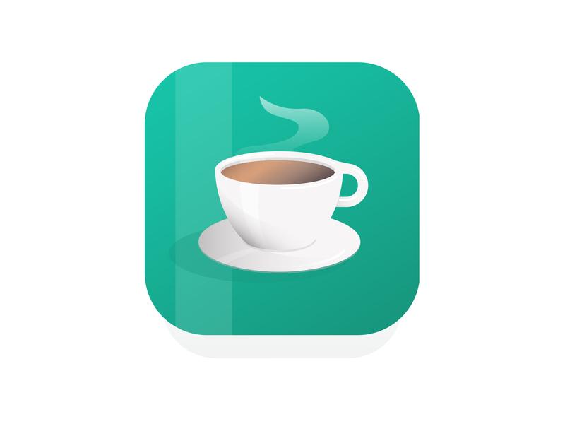 Coffee App Icon Design application icon website web flat ux ui animation type app logo design vector art minimal vector art branding icon illustration