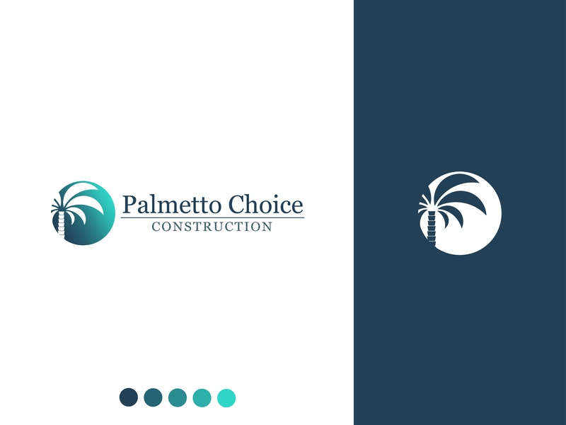 Palmetto Choice Construction graphic design blue character clean identity illustrator lettering flat type typography vector logo brand design minimal art vector art icon branding illustration
