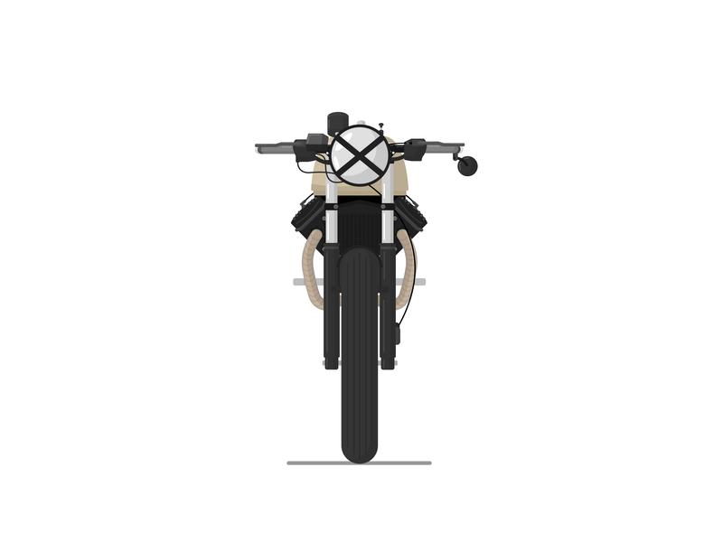Honda CX500 identity gradient animation ux ui flat type vector design art minimal vector art icon illustration