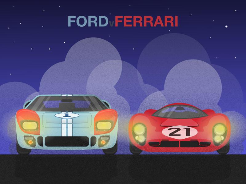 Ford v Ferrari darkmode le mans grain cars fordvferrari ferrari ford type flat design art vector art minimal illustration