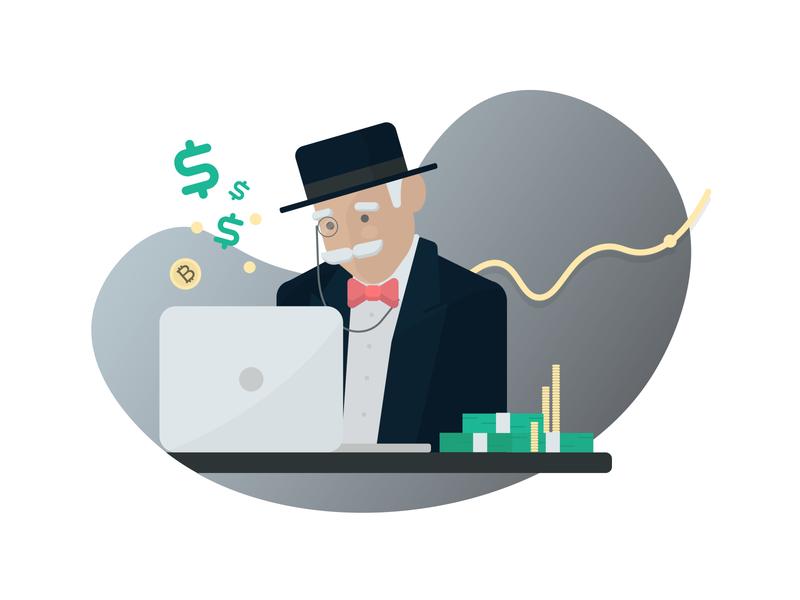 Monopoly Man monogram hat old man bitcoins money bitcoin monopoly animation flat type vector design art minimal vector art illustration