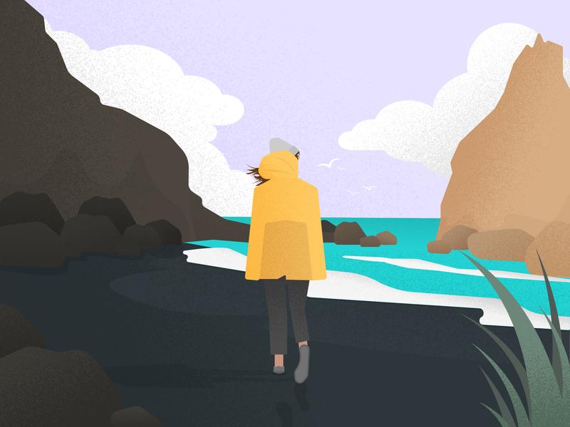 Alone black beach grain texture rain jacket yellow girl iceland grainy flat vector design art vector art minimal illustration
