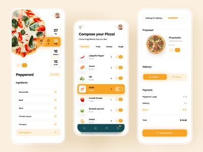 Pizza App ios design mobile ui interface app concept