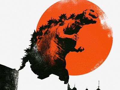 Inktober: Shin Godzilla gojira godzilla vintage movie design sci-fi film horror illustration