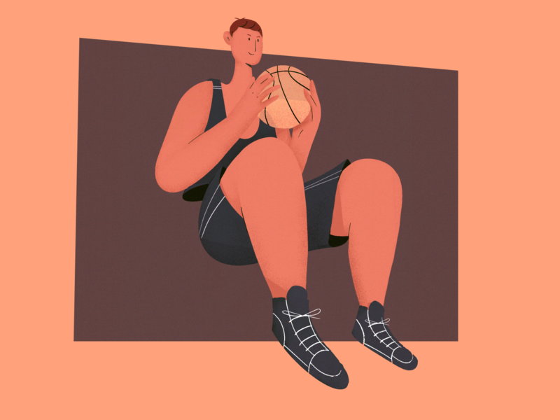 Basketball lovers basketball vector uiux man creative photoshop illustration procreate dribbble design charachter