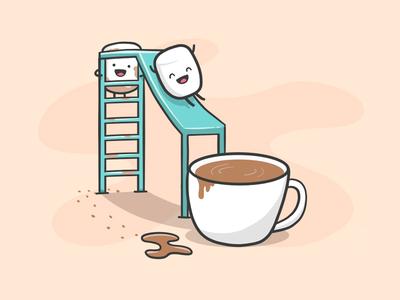 Marshmallows having fun cartoon kawaii procreate illustrator adobe pro pencil ipad doodle chocolate hot-chocolate marshmallow