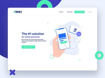 Landing Page - Website payment progress in vector flat clean design web illustration page landing
