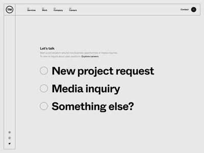 TM Website — 006 javascript portfolio motion animation inputs input field input radio buttons radio button transition form contact form