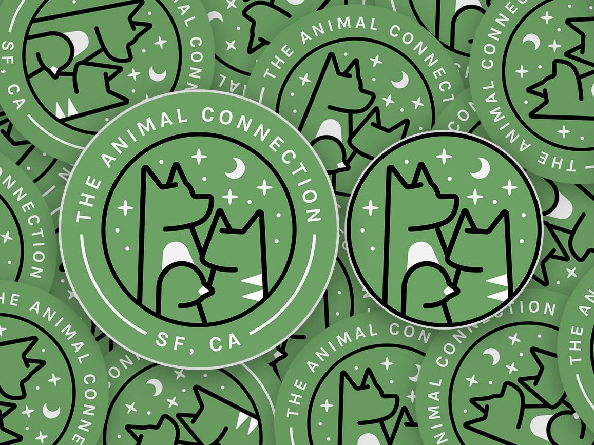 The Animal Connection Stickers graphics illustration sticker design logo bird cat dog stickers petshop pets