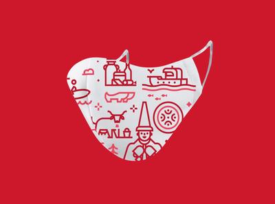Cantabria facemask iconography sea cow vector illustration icon spain estela cantabria