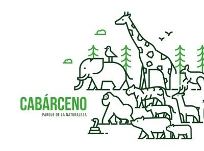 Cabárceno Nature Park vector illustration iconography icon bear monkey giraffe elephant green nature park animals