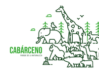Cabárceno Nature Park vector illustration iconography icon bear monkey giraffe elephant green nature park animals